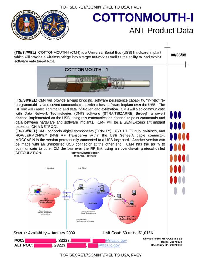 The NSA's Spy Catalog (Image from spiegel.de)
