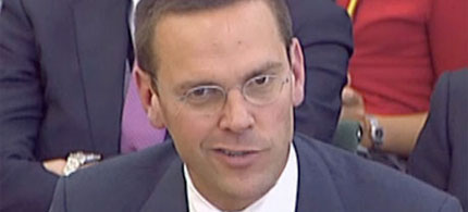 James Murdoch, testifying before British Parliament, 07/19/11. (photo: Rex Features)