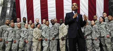 President Obama addressed troops at Camp Victory outside of Baghdad, 03/07/09.  (photo: Charles Dharapak/AP)