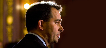 Wisconsin Gov. Scott Walker faces the next step in the effort to recall him on Tuesday. (photo: Capital Times)