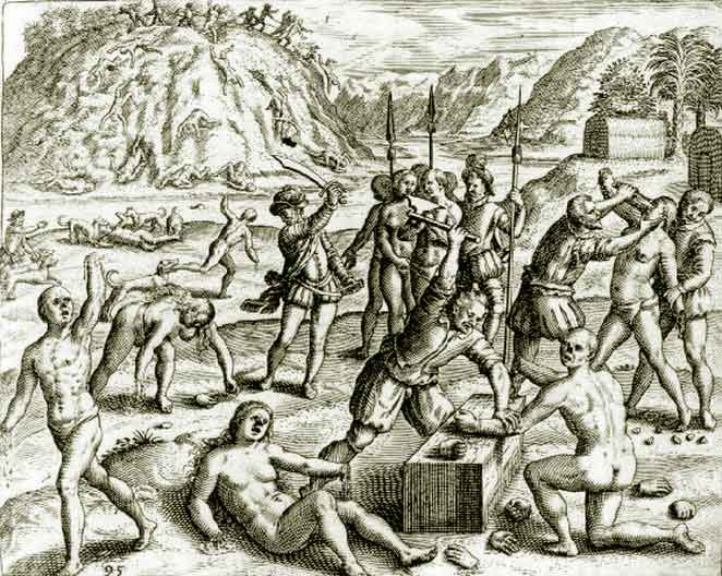 Christopher Columbus Soldiers Chop the Hands off of Arawak Indians who Failed to Meet the Mining Quota