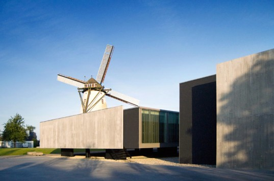green design, eco design, sustainable design, Govaert and Vanhoutte Architects, d-hotel, Kortijk, windmill, upcycled windmill, adaptive reuse, luxury hotel, eco-luxury hotel, eco-tourism