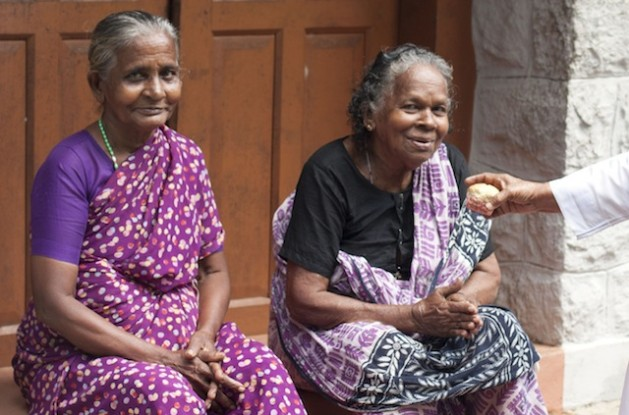Aged women sitting in front of an old age home in Kanyakumari district in Tamil Nadu. Credit: K. S. Harikrishnan/IPS
