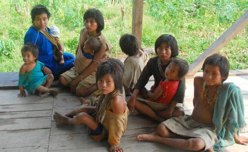 Women and children from a Nanti community in initial contact with Western culture in the Peruvian region of Madre de Dios. Credit: INDEPA