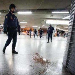 Riot Police Walks Over Pool Of Protestor Blood Following Subway Crackdown