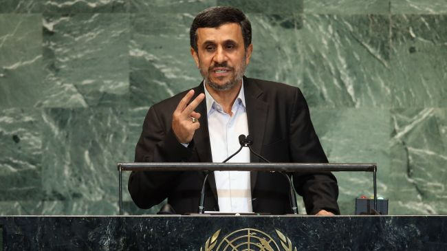 Iranian President Mahmoud Ahmadinejad addressing the 67th session of the United Nations General Assembly in New York on Wednesday, September 26, 2012.