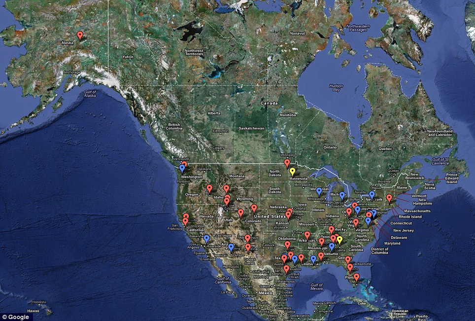Exposed: Location of sites where licences have been granted for the use of drones within the U.S.