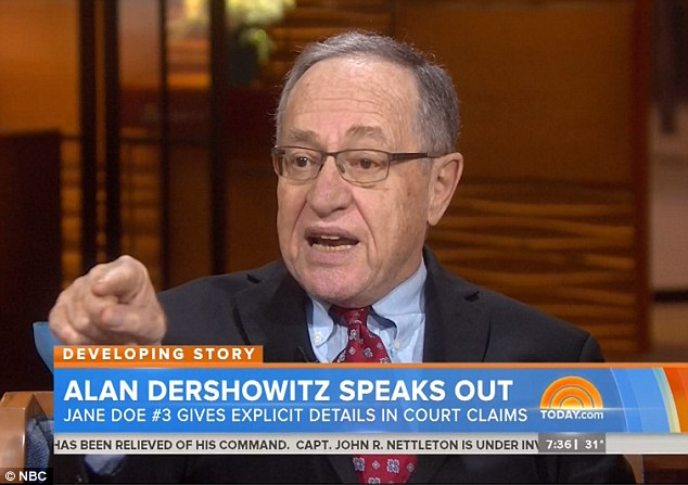 Lashing out: Lawyer Alan Dershowitz appeared on the Today show on Thursday to slam claims that he had sex with Roberts