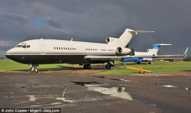 Lolita express: Epstein's Boeing 727 on the ground at Basingstoke Airport in August 2012. He used it to fly Bill Clinton between a string of destinations. Picture from airport-data. com