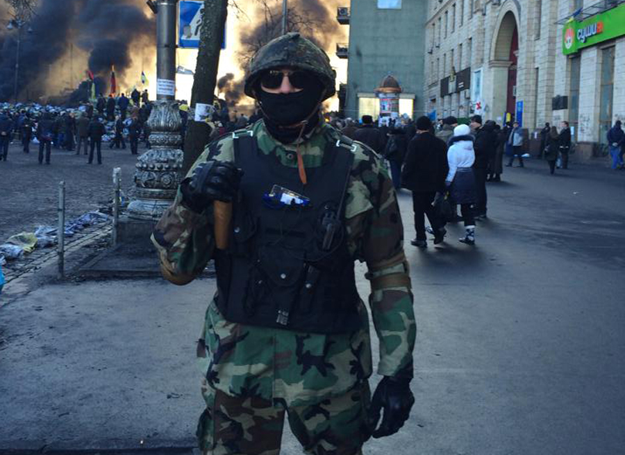 Delta, the nom de guerre of the Jewish commander of a Ukrainian street-fighting unit, is pictured in Kiev earlier this month. (Courtesy of 'Delta')
