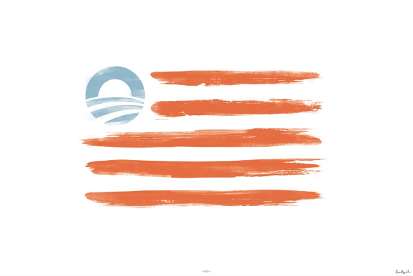 Obama Campaign Selling American Flag Print That Replaces 50 Stars With Campaign Logo