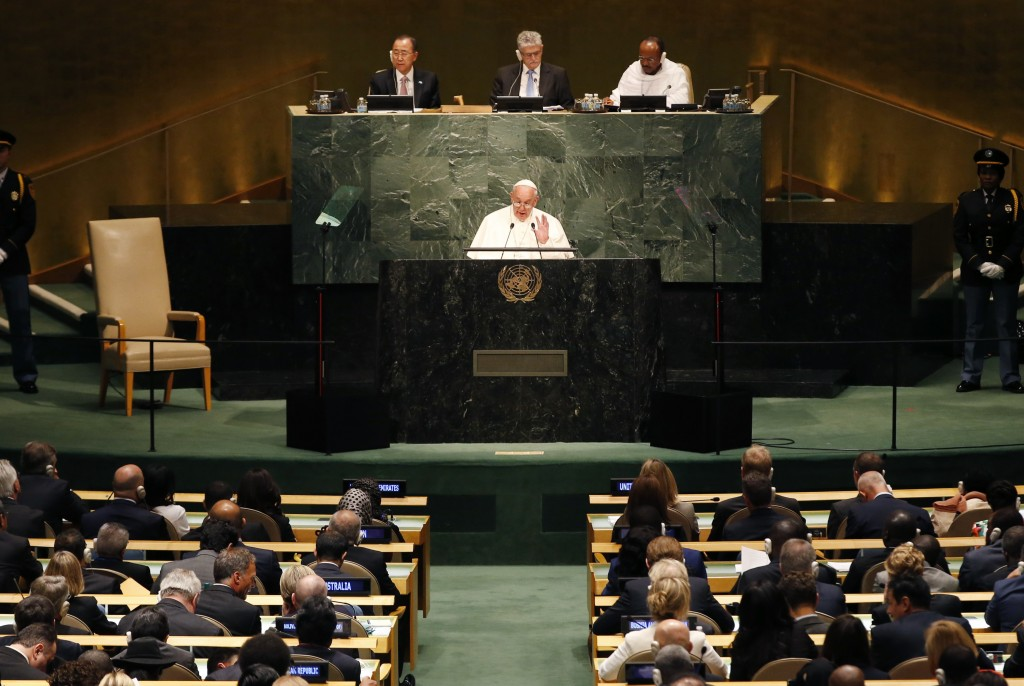 Pope Francis addresses a plenary meeting of the United Nations Sustainable Development Summit 2015 at United Nations headquarters in Manhattan, New York, Sept. 25. Photo by Mike Segar/Reuters