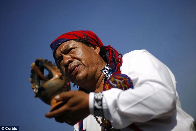 Ritual: An indigenous man during a Mayan ceremony on February 21 2011 in Guatemala City, Guatemala