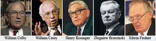 "Some known ""US Circle"" participants. Colby was Opus Dei; Casey and Feulner Knights of Malta. Brzezinski worked closely with the Knights of America, and like Kissinger, is velcroed to Rockefeller interests"