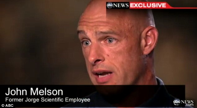Whistle blower: John Melson, a National Guard sergeant who served in uniform in Iraq and Afghanistan before working for Jorge Scientific, quit after only three months